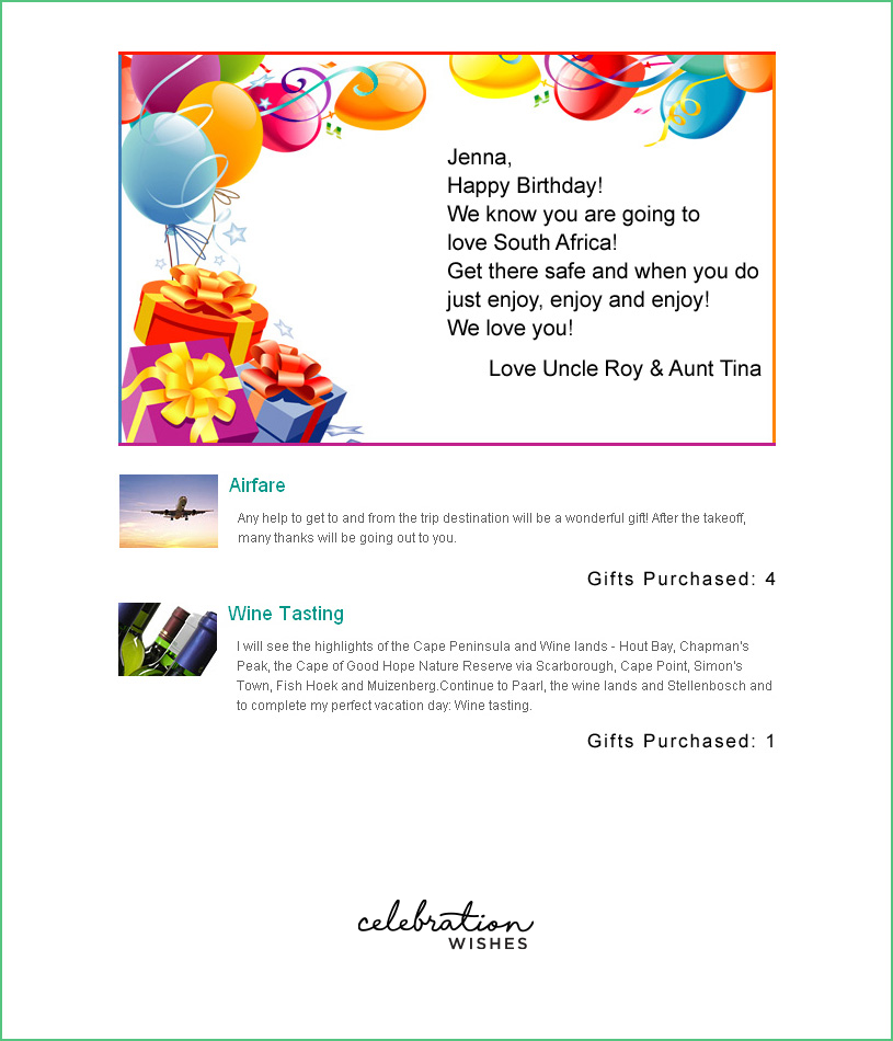 Honeymoon Registry Celebration Wishes Wedding Registry